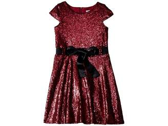 Us Angels Cap Sleeve All Over Sequin Skater Dress (Toddler/Little Kids)