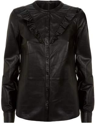 SET Leather Ruffle Blouse