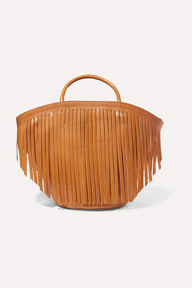 Trademark - Large Fringed Leather Tote - Tan