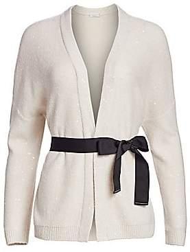 Brunello Cucinelli Women's Oversized Sequin Tie-Waist Wool & Silk Shawl Cardigan