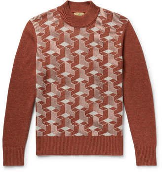 Levi's Jacquard Wool Mock-Neck Sweater - Brown
