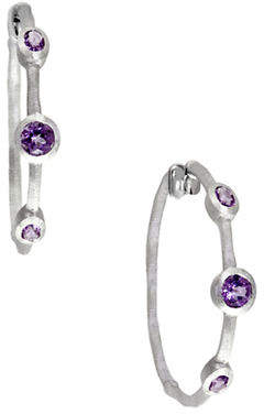 Effy 925 Sterling Silver and Amethyst Hoop Earrings