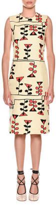 Marni Sleeveless Vine-Print Sheath Dress