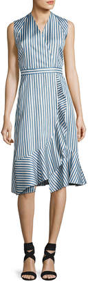 Carven Sleeveless Striped Silk Satin Dress, Multicolor