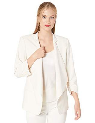 Halston Women's Ruched Sleeve Slim Crepe Suiting Jacket