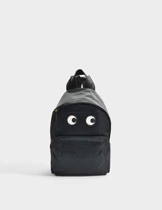 Anya Hindmarch Eyes Backpack in Black Nylon
