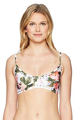 GUESS Women's Studded Floral Triangle Bikini Top