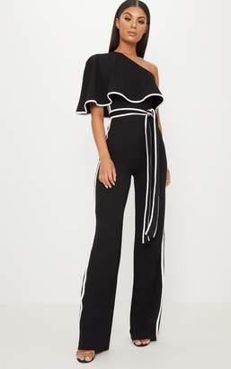 PrettyLittleThing Black One Shoulder Contrast Binding Jumpsuit