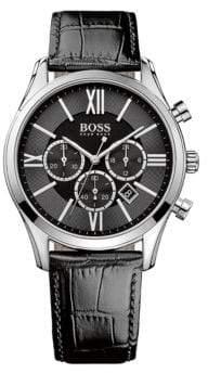 HUGO BOSS Mens Boss Black Ambassador Stainless Steel Leather Strap Watch