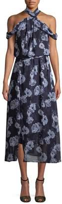 RENVY Women's Cold-Shoulder Midi Dress