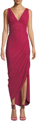 Chiara Boni Dory V-Neck Sleeveless Shirred Dress w/ Asymmetric Hem