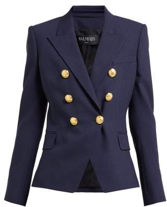 Balmain Double Breasted Wool Twill Blazer - Womens - Navy