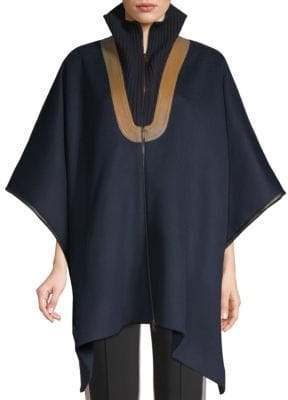 Derek Lam Leather-Trim Wool Cape