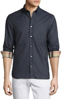 Burberry Long-Sleeve Oxford Shirt w/Check Revers, Charcoal $275 thestylecure.com