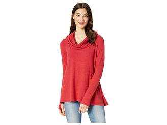 Michael Stars Madison Brushed Long Sleeve Convertible Top with Thumbholes