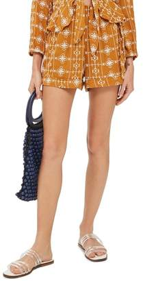 Topshop Embroidered Crinkle Shorts