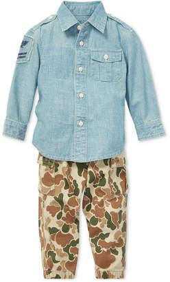 Polo Ralph Lauren Baby Boys Cotton Chambray Shirt & Jogger Pants Set