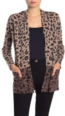Magaschoni M BY Cashmere Leopard Print Cardigan