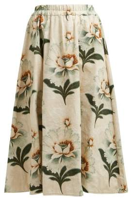 By Walid Daisy Floral Print Cotton Canvas Midi Skirt - Womens - Green Print