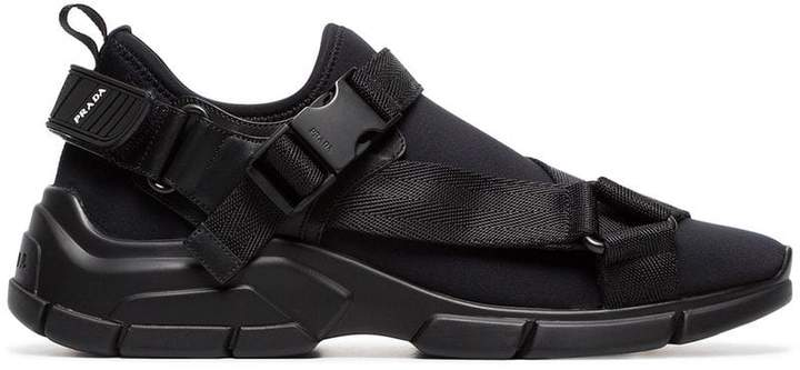 Prada Black neoprene buckle sneakers