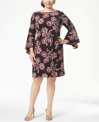 MSK Plus Size Printed Bell-Sleeve Sheath Dress