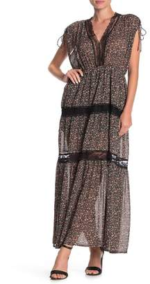 MelloDay Lace Inset Floral Maxi Dress