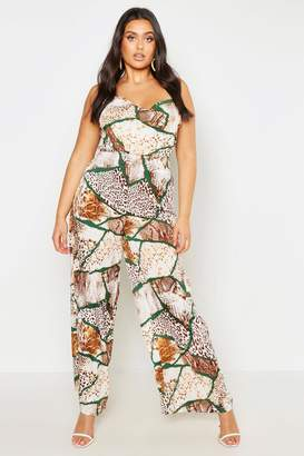 ded29ad535 boohoo Plus Woven Mixed Animal Print Wide Leg Trouser