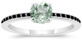 Black Diamond Vogati 0.23 Cts & 0.85 Cts AAA Green Amethyst Engagement Ring in 14K White Gold-6.0