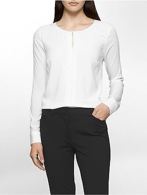 Calvin Klein Calvin Klein Womens Center Pleat Long Sleeve Top Shirt
