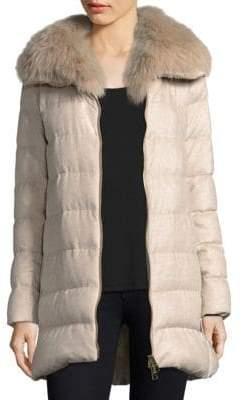 P.A.R.O.S.H. Fox Fur-Collar Silk & Cashmere Puffer Coat