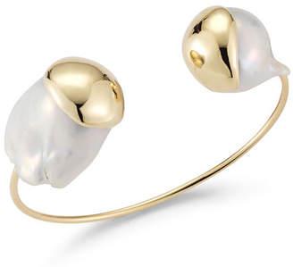 Mizuki Fluid Baroque Double-Pearl Open Cuff Bracelet in 14K Gold