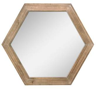 "STONEBRIAR COLLECTION Stonebriar Decorative 24"" Hexagon Hanging Wall Mirror with Natural Wood Frame and Attached Hanging Bracket"