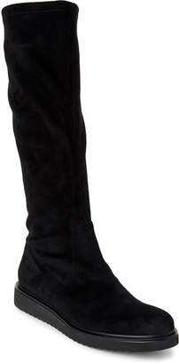 Alberto Zago Black Suede Stretch Knee High Boots