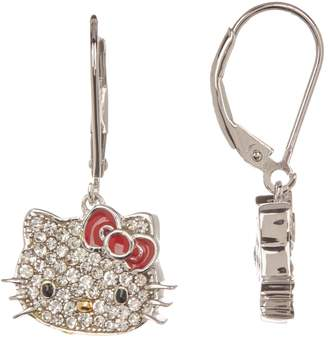 Hello Kitty Sterling Silver Czech Crystal Flat Face & Red Bow Earrings