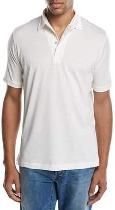 Isaia Cotton-Silk Polo Shirt, White
