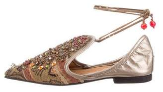 Reem Acra Embellished Brocade Pointed-Toe Flats