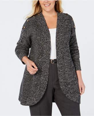 Charter Club Plus Size Marled-Knit Cutaway Cardigan