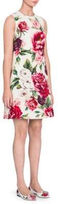Dolce & Gabbana Wool Stampa Peonie A-Line Dress