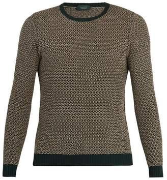 Zanone - Crew Neck Cotton And Linen Blend Sweater - Mens - Green Multi