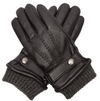 Dents Henley Touchscreen Compatible Leather Gloves - Mens - Black