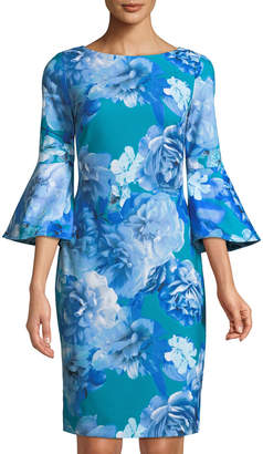 Iconic American Designer 3/4-Sleeve Floral-Print Sheath Dress