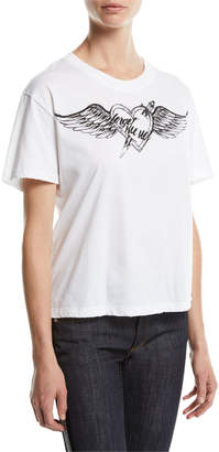 RED Valentino Short-Sleeve Heart Wing Printed Jersey T-Shirt