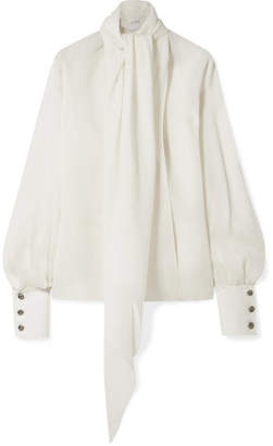 The Row Asta Pussy-bow Silk-crepe Blouse - Ivory