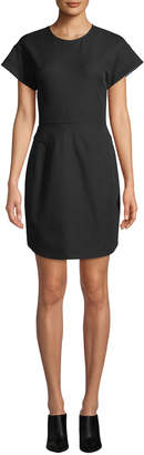Derek Lam 10 Crosby Structure Short-Sleeve Crewneck Short Dress