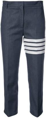 Thom Browne Beltloop Trouser With 4 Bar Stripe & Grosgrain Finishing In Navy Denim