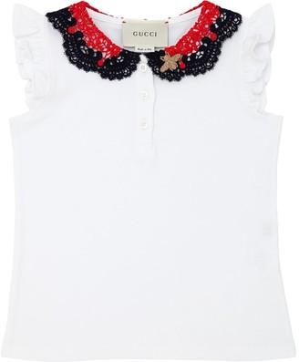 Gucci Pique Polo Shirt W/ Crochet Collar