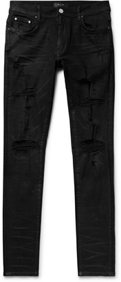 Amiri Thrasher Plus Skinny-Fit Distressed Stretch-Denim Jeans - Men - Black