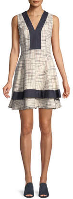 Derek Lam 10 Crosby Tiered V-Neck Mini Dress w/ Denim Contrast