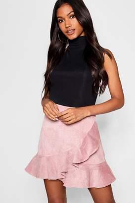 boohoo Wrap Ruffle Cord Mini Skirt