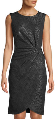 Donna Ricco Shimmer-Knit Knotted Sheath Dress
